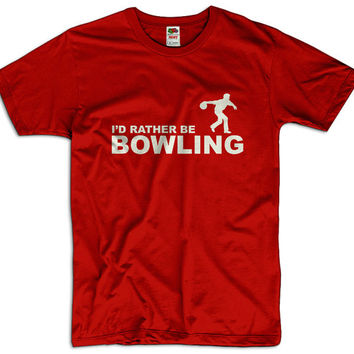I'd Rather Be Bowling Men Women Ladies Funny Joke Geek Clothes T shirt Tee Sport Gift Present