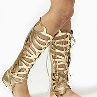 Breckelles Gold Cut Out Gladiator Knee High Sandal
