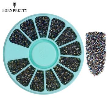1 Box Colorful Beads Mixed Color Small Nail Rhinestones 3D Nail Decoration In Wheel Manicure Nail Art Decorations