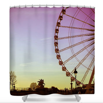 Paris Big Carrousel Polyester Fabric Shower Curtain