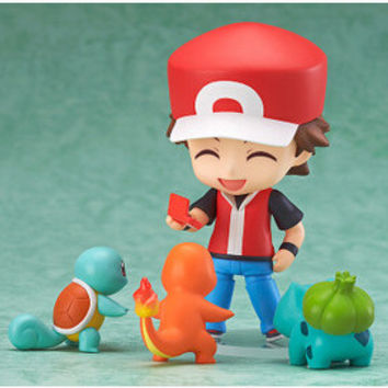 Pokemon PVC Figure Toy Nendoroid Ash Ketchum Zenigame Charmander Bulbasaur Action Figure Pokemon Red Anime Collectible Model Toy