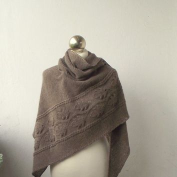 Light Brown hand knitted  shawl with leaves pattern