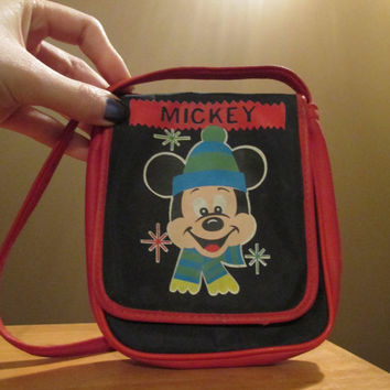 Vintage Red and Black Mickey Mouse Mini Children's Purse- Disney