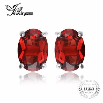 JewelryPalace Oval 2ct Red Garnet Birthstone Stud Earrings Solid 925 Sterling Silver Jewelry Fashion Girl Birthday Gift