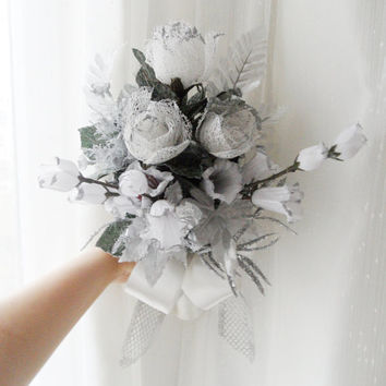 Wedding bouquet Bridal lace Silk flowers Cascade  SILVER IVORY Decorations,