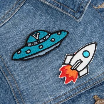 Orelia UFO & Rocket Embroidery Badge at asos.com