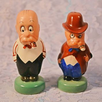 FREE SHIPPING Rare Goebel Hummel, Silent Sam Adamson Salt And Pepper Shakers, 1950's Character Shakers