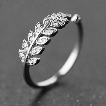 Leaf Shape Cubic Zircon Charm Open Ring