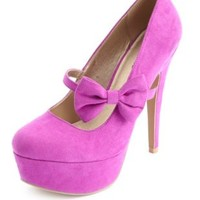 Bow Strap Almond Toe Platform Pumps by Charlotte Russe - Purple