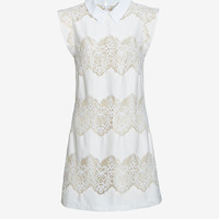 LOVER CHELSEA REMOVABLE COLLAR SHIFT DRESS: WHITE