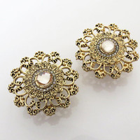 "2g, 0g, 00g, 7/16"", 1/2"", 9/16"", 5/8"" / Gold Rhinestone / Plugs Gauges Stretchers Earrings / Stretched Gauged Ears / Stainless Steel Tunnels"