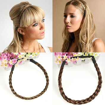 Cute Women Girls Bohemian Headband Braided Plait Hoop Hairband Hair Extensions Hairpieces = 1928575748