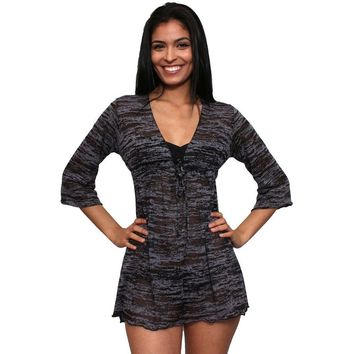 Women's Burnout Swimwear Cover-up Long Sleeve Beach Dress Made in the USA