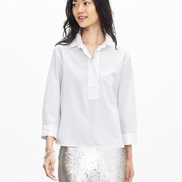 Banana Republic Womens Cropped Poplin Blouse