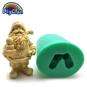 New Santa Claus candle mold DIY silicone cake mold Christmas decoration mould Father Christmas soap form cake tools S0029SD25
