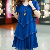 2016 new arrival women plus size chiffon dress summer loose style slim short-sleeve dresses casual vestidos S-5XL J016