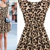 Sexy Casual Leopard Dress for Womens