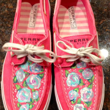 Hand painted canvas sperrys size 9