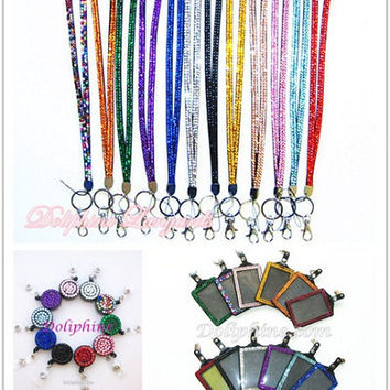 3 in 1 Set Rhinestone Bling LANYARD with Retractable Reel and Vertical / Horizontal ID Badge Holder