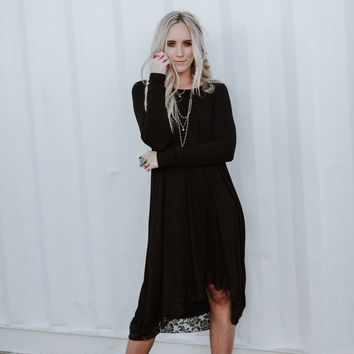 Lace Trimmed Tunic Dress - Black