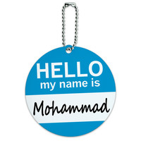 Mohammad Hello My Name Is Round ID Card Luggage Tag