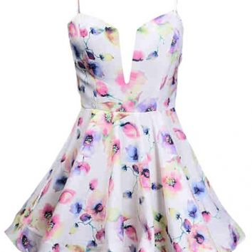 Straps Floral Dress - Kely Clothing
