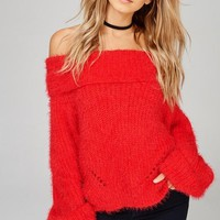 Lady In Red Knit Off The Shoulder Sweater