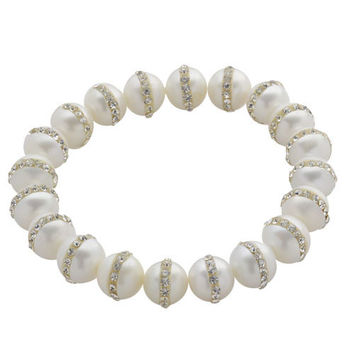 Imperial Pearl: 9-10mm White inlaid Crystal Freshwater Pearl Stretch Bracelet