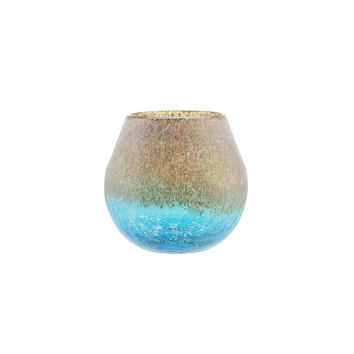 "6"" Azure Blue Crackled and Brown Frosted Hand Blown Decorative Glass Vase"