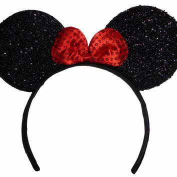 Funfash Halloween Minnie Mouse Ears Red Sequins Headband Costume Adult One Size