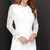 Sweet as Sugar Ivory Long Sleeve Lace Dress