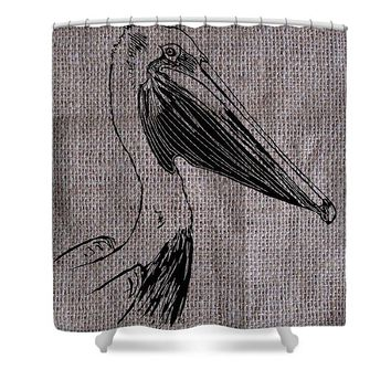 Pelican On Burlap - Shower Curtain
