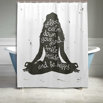 Yoga Zen Quote Saying Shower Curtain  60 X 72 Inch Black and White Bathroom Sets Home Decor Gift for Her