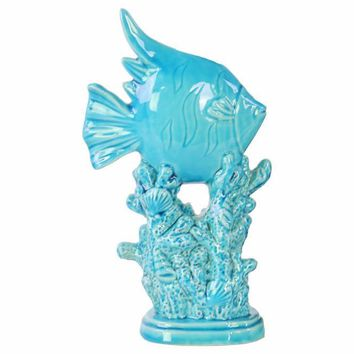 Angelfish Sculpture on Coral Pedestal Gloss Finish Blue - Benzara
