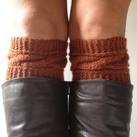 Brown Sugar Boot Cuffs Cable Knit Boot Liners Toppers