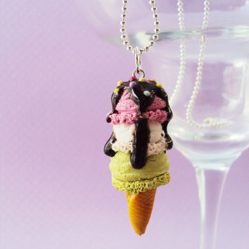 3 Scooped Ice Cream Necklace Polymer Clay, Miniature Clay Dessert Food Jewelry, Ball Chain