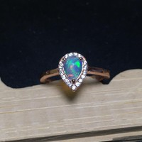 Fire Natural Australia Opal Stone Solid Silver 925 Thin Band Rings Women Princess Ring 100% 925 Sterling Silver Female Jewelry