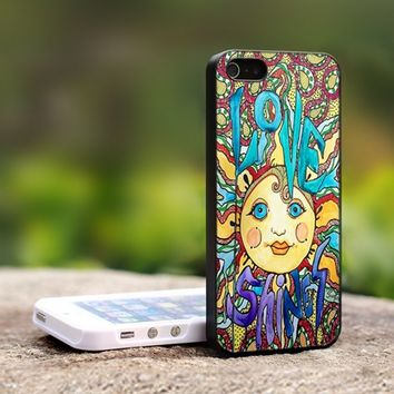 Love Shines Singleton Hippie Art - For iPhone 5 Black Case Cover