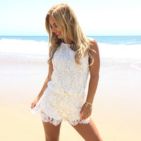 Novelty Crochet Romper In Ivory
