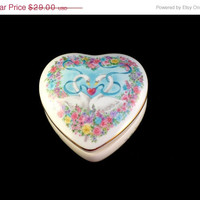 CIJ SALE Retired Porcelain Heart Music Box, 1988 Heritage House,8Love is a Many Splendored Thing, Pink Blue Swans Flowers, Gift for Her