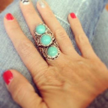 Turquoise 3 stone silver ring