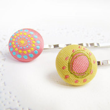 Spring Bobby Pin Set, Fabric Buttons, Matching Bright Buttons, Cute Button Pins, Little Girl Hair Accessories, Spring Colours, Hair Gift Set