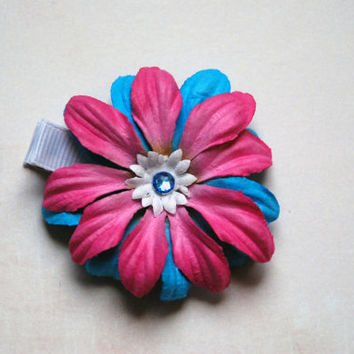 Pink and Blue Tropical Paper Flower Hair Clip with Gem