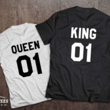 King and Queen shirts with Crowns, King 01, Queen 01 Couples T-shirt Set, King Queen shirts, 100% cotton Tee, UNISEX