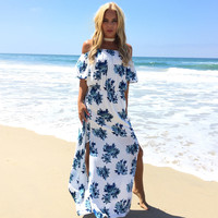 Ocean Breeze Floral Maxi Dress