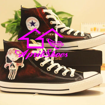 The Punisher Converse Sneakers Customize Punisher Sneakers Black High Top Converse