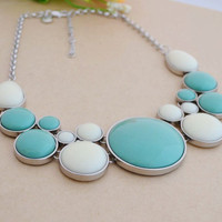 Bubble Necklace Teal &White, Charming Bib Necklace, Statement Jewelry