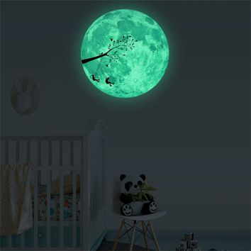 30cm ~ Glow star moon ~ Wall Stickers for kids rooms Decal ~ Stars Luminous Fluorescent