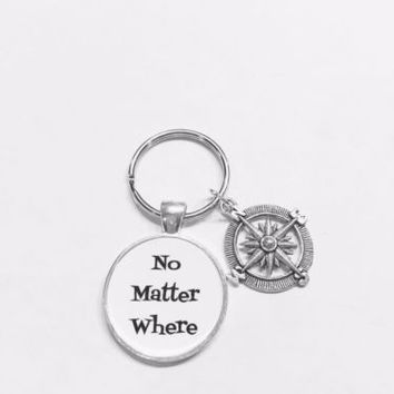No Matter Where Compass Best Friends Sister Long Distance Gift Keychain