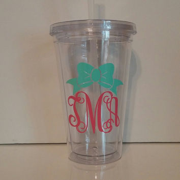 Vine Monogram Cup with Bow Preppy Cup Southern Cup Monogram Cup 16 oz Acrylic Cup PersonalizedBridesmaid Gift,Tumbler 16oz clear lid & straw
